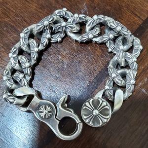 Chrome heart floral bracelet
